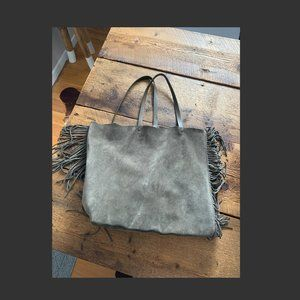 Club New Lea Fringe Leather/Suede Tote